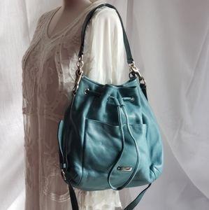 Turquoise Tiffany blue coach leather bucket bag